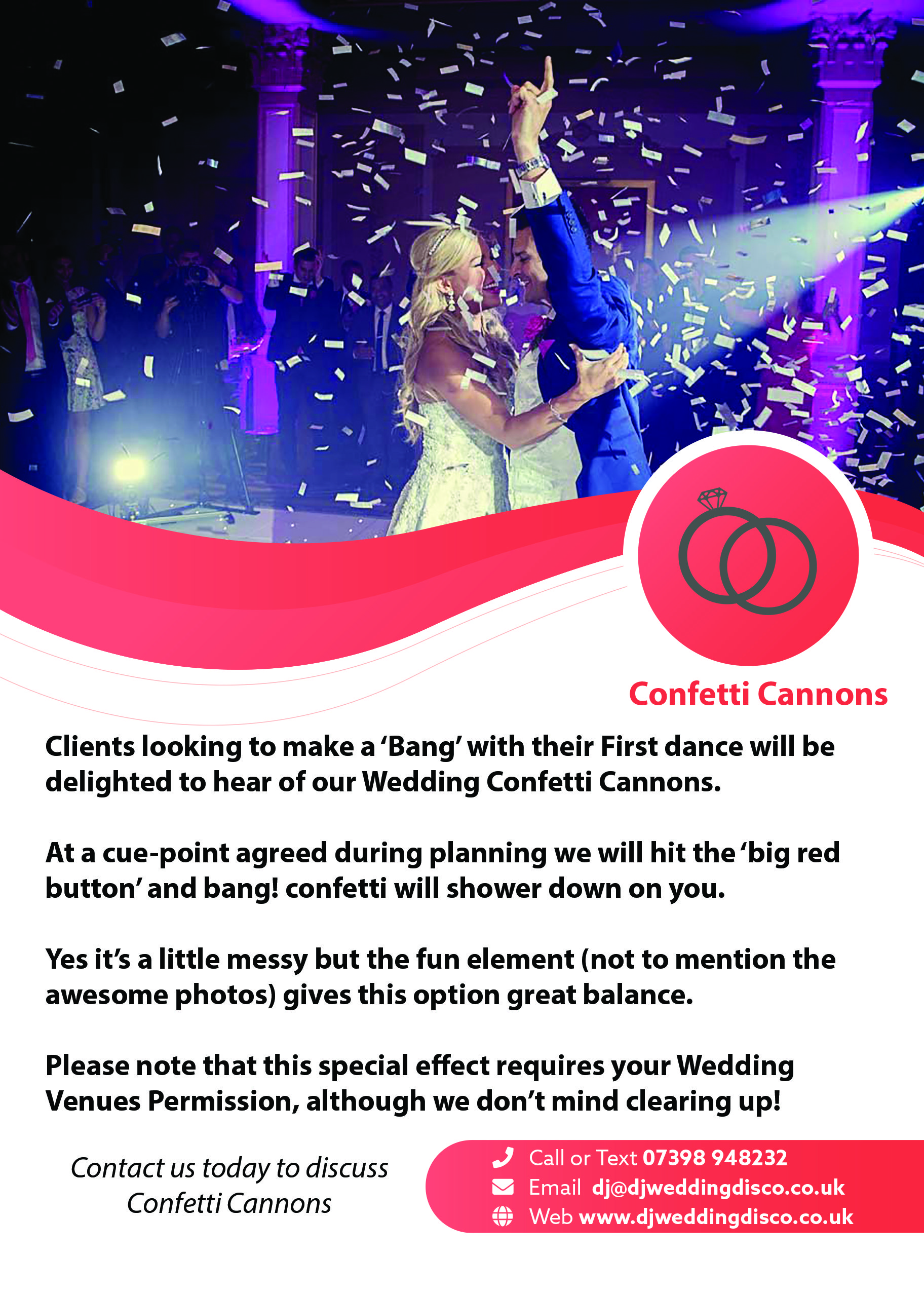 Confetti Cannons - DJ Wedding Disco